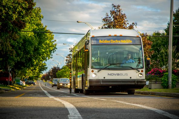 Two Nova Bus Electric buses in Vancouver as part of the CUTRIC project